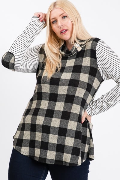 Black and White Plaid Cowl Neck with Striped Sleeves *Final Sale*