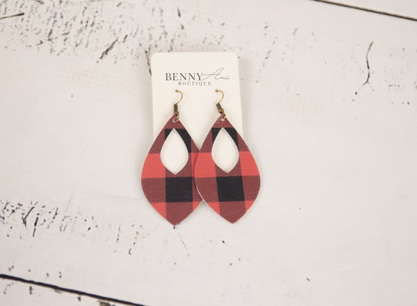 Buffalo Plaid Cutout Teardrop Earrings