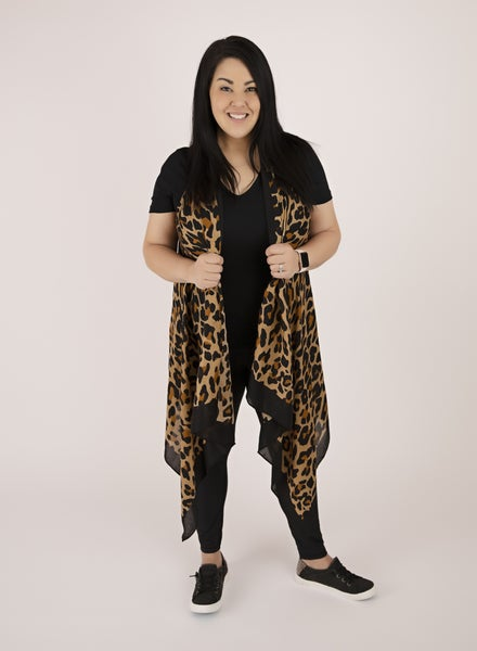 Sleeveless Leopard Duster