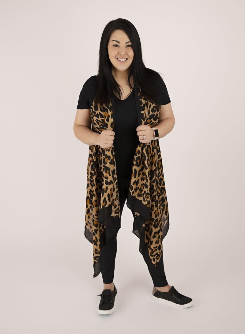 Sleeveless Leopard Duster