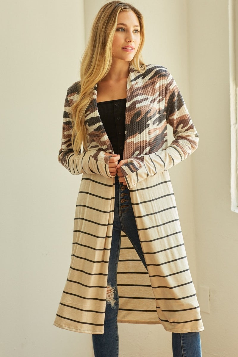 Camo Stripes Cardigan *Final Sale*