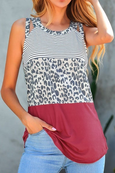 Cheetah Color Block Strap Tank