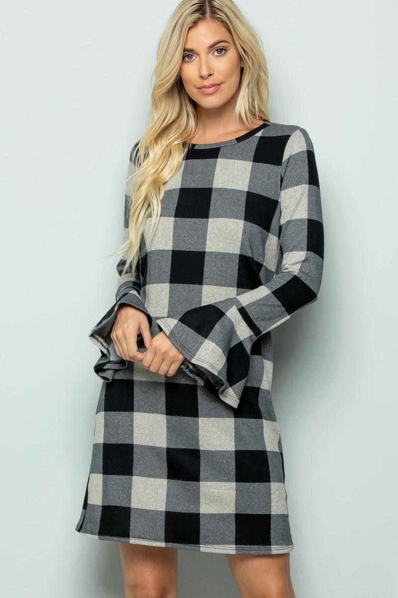Ruffle Sleeve Buffalo Plaid Dress *Final Sale*