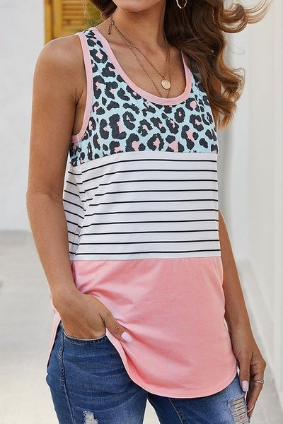 Leopard Stripe Color Block-Pink