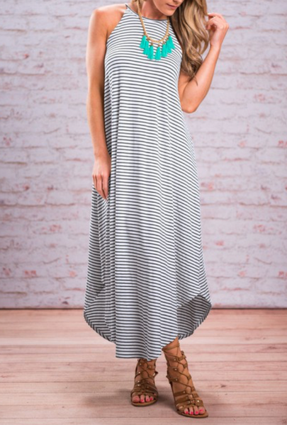 Scoop Neck Stripe Maxi