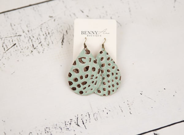 Teal Speckled Teardrop Earrings