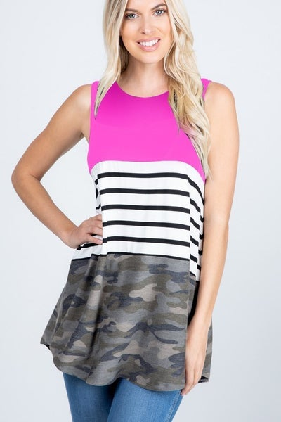 Camo Stripe Color Block Tank *Final Sale*