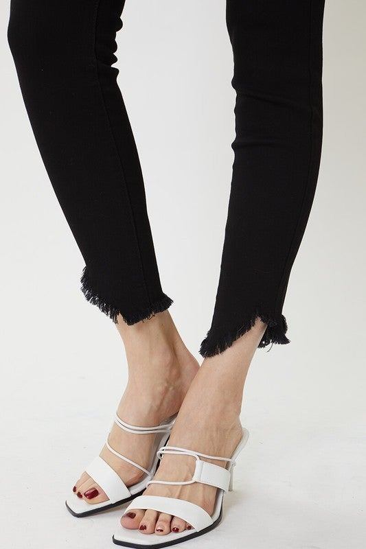 High Rise Hem Detail Skinny Ankle Jeans *Final Sale*