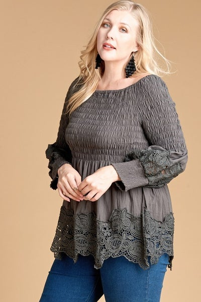Crochet Trim Baby Doll Top-Plus Sizes *Final Sale*