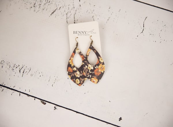 Floral Cutout Teardrop Earrings