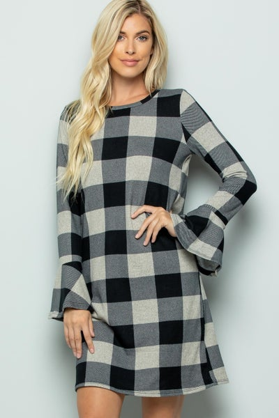 Ruffle Sleeve Buffalo Plaid Dress *Final Sale*