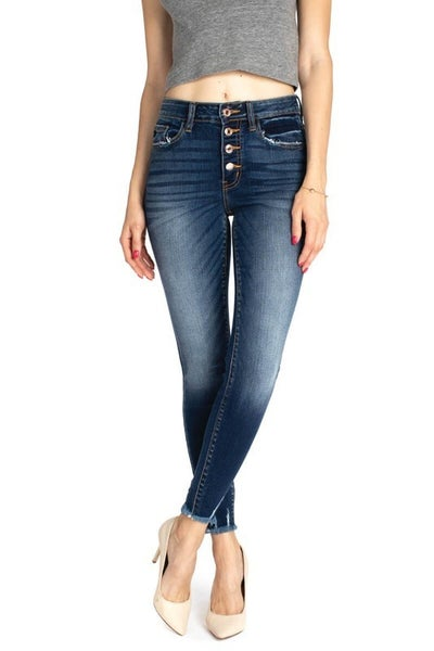 High Rise Button Fly Ankle Skinny Jeans *Final Sale*