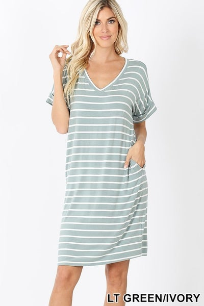 V Neck Striped Tshirt Dress