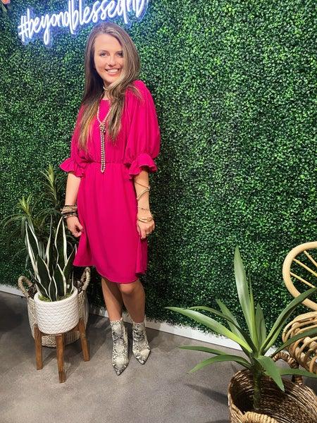 Fuchsia Woven Dress