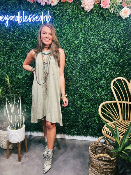 Washed Taupe Dress
