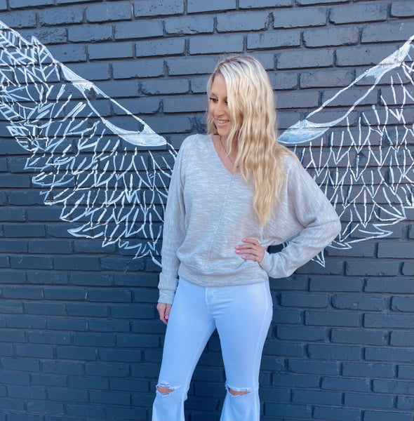 Heather Gray V Neck Sweater