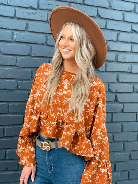 Rust Floral Blouse