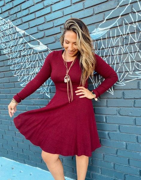 Wine Pleated Dress
