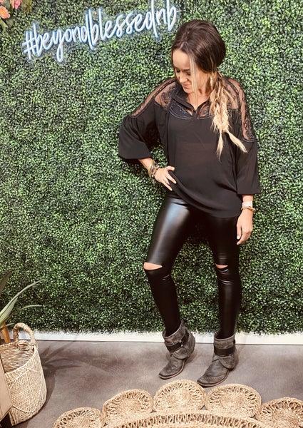 Black skinny leather leggings