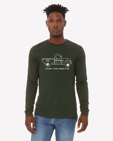 Jeep Long Sleeve Unisex T shirt -Dark Green- BDS - Bella-Canvas *Final Sale*
