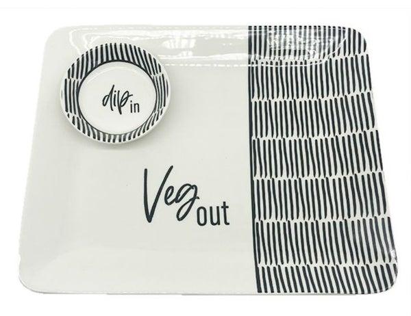 Dip/Veg Ceramic Platter & Bowl