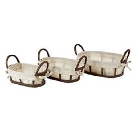 Metal And Fabric Baskets 3pcs