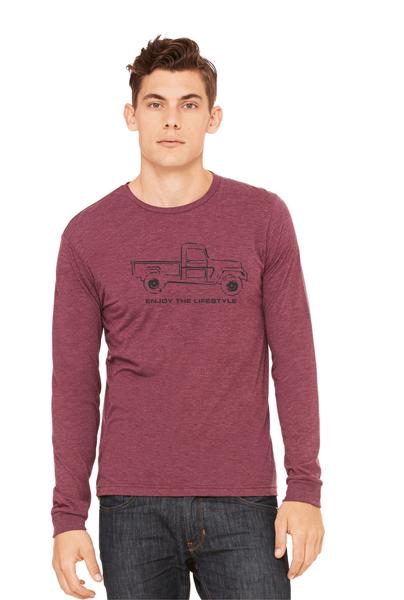 Jeep Long Sleeve Unisex T shirt -Maroon- BDS - Bella-Canvas *Final Sale*