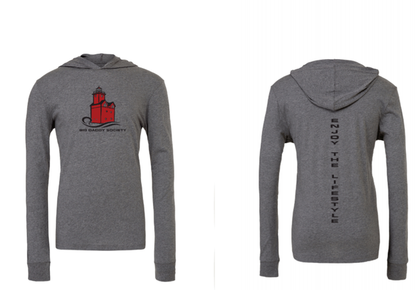 Big Red Lighthouse Hooded T-Shirt -Grey/Red/Black *Final Sale*