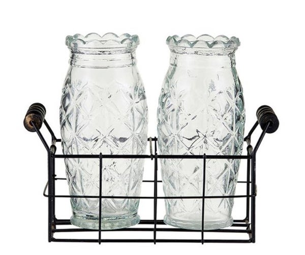 2 Vases with Caddy