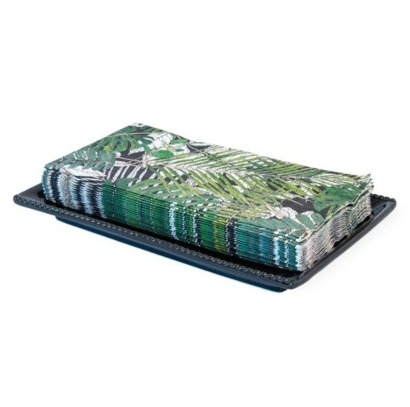 Beaded Paper Guest Guest Ceramic Caddy Tray - Black