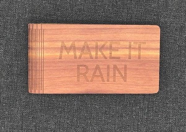 Personalized Money Clip - Make It Rain - Maple