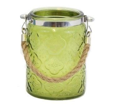 GREEN ORNAMENTAL GLASS JAR/LANTERN
