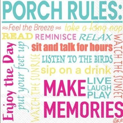 Paper Cocktail Napkins / Porch Rules