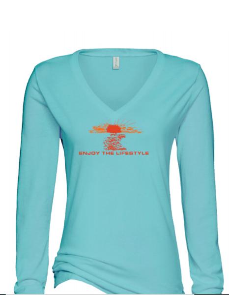 Ladies Long Sleeve V - Neck Tshirt - Seaglass- Sunset Orange- BDS- Bella Canvas