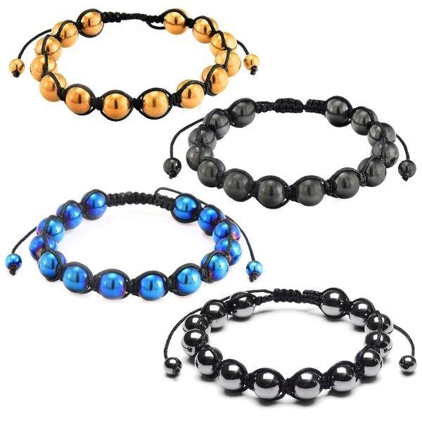 Hematite Stone Beaded Adjustable Bracelet (10mm)