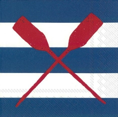 Paper Cocktail Napkins / Yacht Club Oars Blue