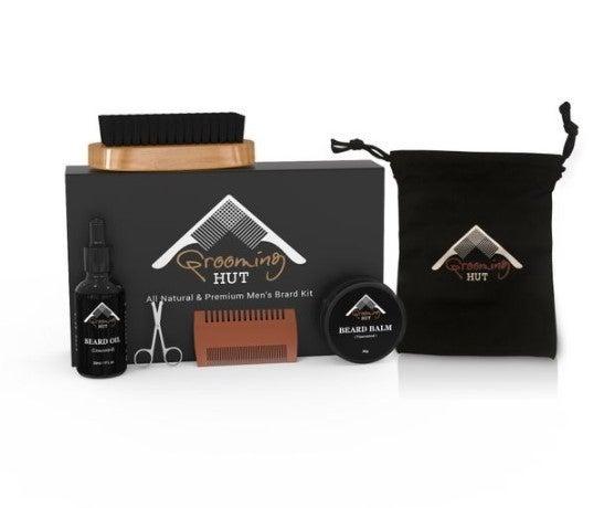 Organic Beard Kit; Beard Oil/Beard Balm/Beard Brush/Beard Comb/Beard Scissors/Carrying Case