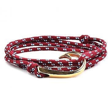 Crucible Stainless Steel Hook Clasp Colored Rope Adjustable Wrap Bracelet - Red