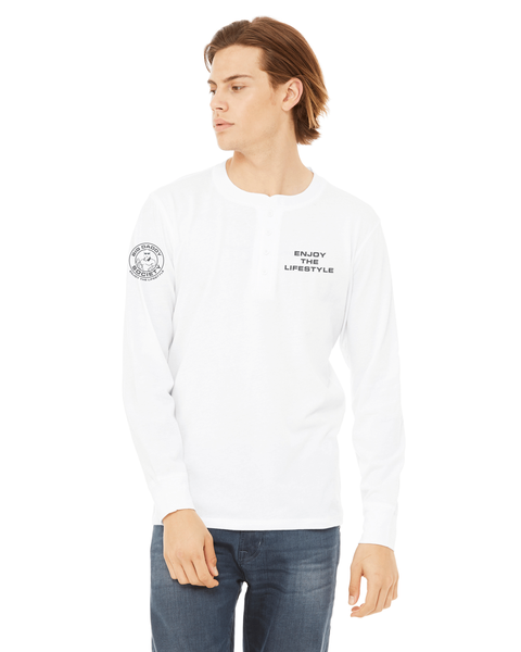 White Men's Jersey Long Sleeve Henley - Dark Teal Big Daddy Logo *Final Sale*