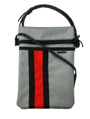 X-Over Shoulder Bag Gray/Red Stripe