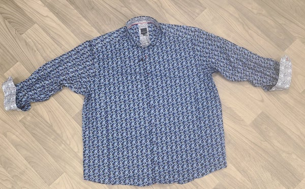 Daniel Hechtor Blue/Multi Long Sleeve Button Front Shirt