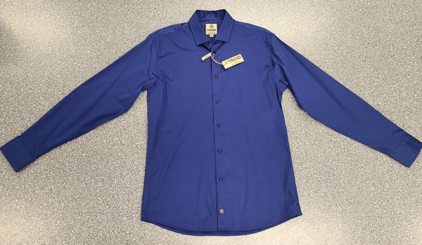 Tall Button Front Woven Long Sleeve Shirt-Royal