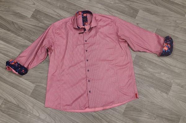 Daniel Hechtor Pink/Multi Long Sleeve Button Front Shirt