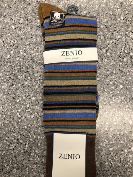 Zenio Horizontal Stripe Socks brown