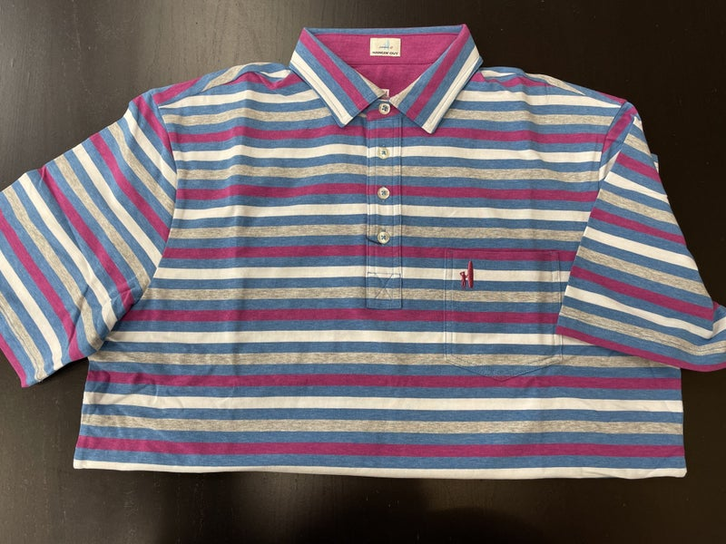 Johnnie-O Polo-3080 Blu/purple Stripe