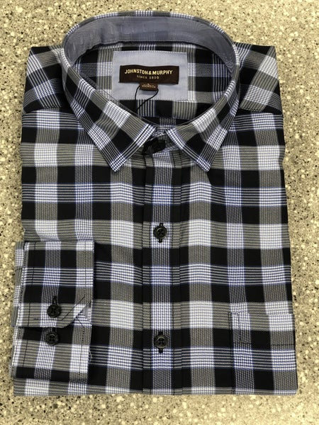 Plaid Woven Button Up Shirt  Blue/Lt Blue