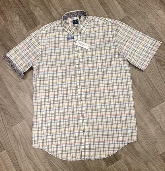 Leo Chevalier-Woven SS Shirt-Wht Plaid-BT