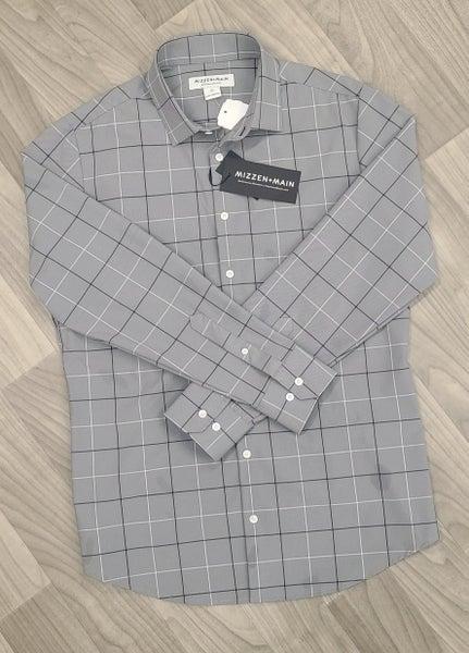 Mizzen & Main Stretch Woven Shirts-Grey