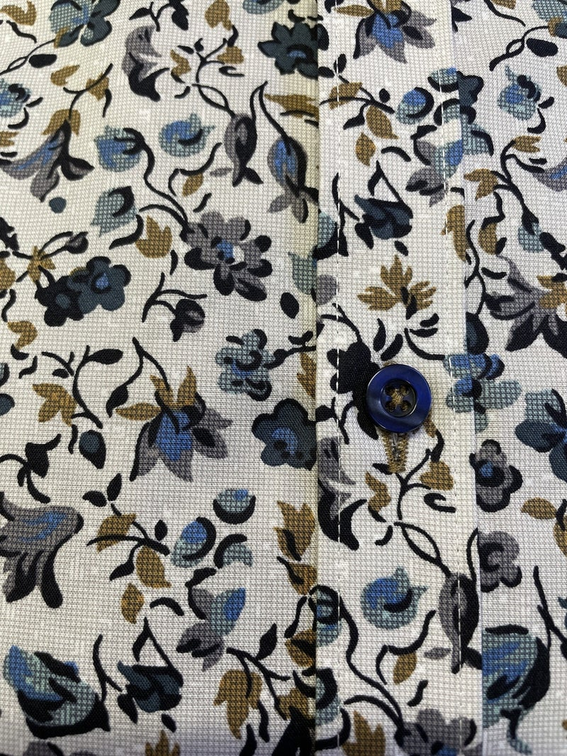 Forsyth  Non Iron Shirt-BlueTan Floral print