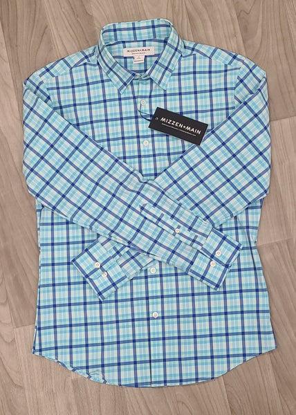Mizzen & Main Stretch Woven Shirts-Turquoise Aqua
